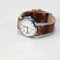 Leather Watch Strap Horween Leather English Tan Thumbnail Buckle