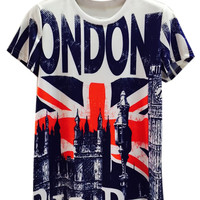 Multicolor London Building And Flag Print T-shirt
