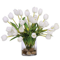 WHITE TULIP FAUX FLOWER ARRANGEMENT