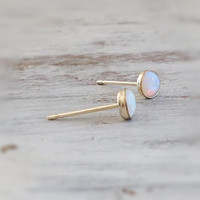 Opal stud earrings, gold opal earrings, opal earrings, classic earrings, stud earrings, Gold filled earrings - 21030