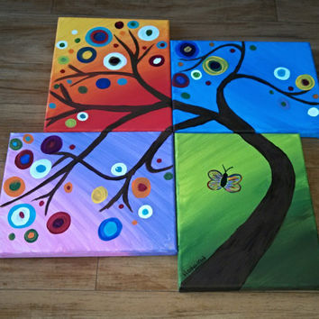 "Tree, set of 4, size 8x10"" each, acrylic painting, canvas, bright and colorful, color scheme: green grass, blue sky, sunset sky, sunrise sky"