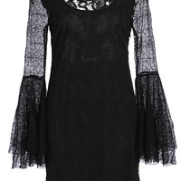 Black Lace Look Spiderweb Textured Bell Sleeve Dress with Cutout Skull Back