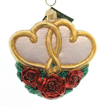 Old World Christmas Entwined Hearts Glass Ornament