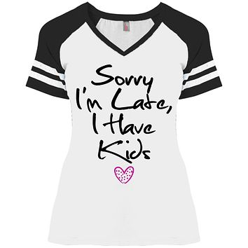 Mom Game V-Neck T-Shirt - Sorry I'm Late I Have Kids