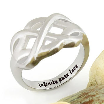 "Couples Ring Infinity Ring, Promise Ring Infinity Symbol Ring ""Infinity Pure Love"""