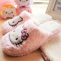 2016 New Hello Kitty Sandals Women Winter Spring thin light home slippers house Plush