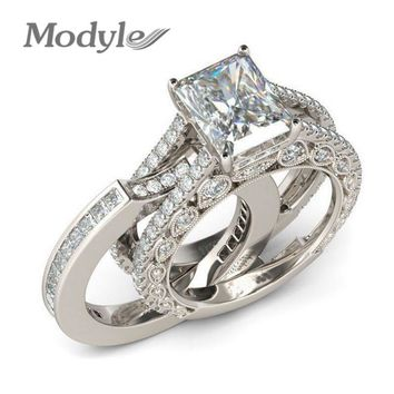 Modyle 2018 Simple Design Double Stackable Fashion Jewelry Bridal Sets Wedding Engagement Ring for Woman
