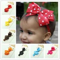 15 Colors Ribbon Polka Dot Bow Headband Baby Girl Headbands Solid Color Children Hair Bow Elastic Infant Kids Hairband