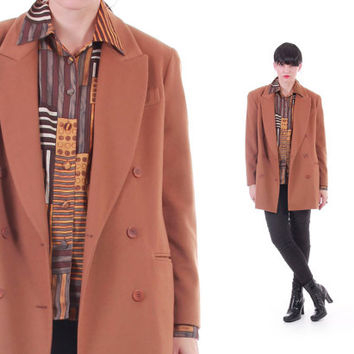 Cashmere Wool Blazer Gingerbread Brown Double Breasted Minimal Chic Vintage Coat 80s 90s Clothing Womens Size Large