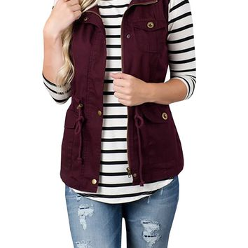 Pure color sleeveless button new winter vest coat