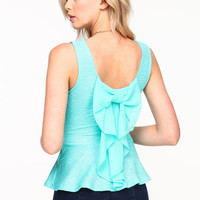 BOW METALLIC PEPLUM TOP