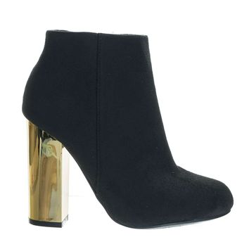 Scenery11 Black F-Suede Metallic Chunky Block Heel Round Toe Ankle Bootie w Faux Fur Lining