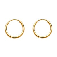 Mini Hoop Earrings 12MM -14K Solid Yellow Gold