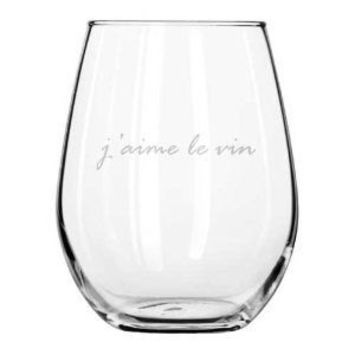 I LOVE WINE stemless wine glass