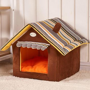 a6d766423857 New Fashion Striped Removable Cover Mat Dog House Dog Beds For Small Medium  Dogs Pet Products