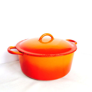 Vintage Descoware Orange Flame Cast Iron Stock Pot Belgium Roaster Dutch Oven Porcelain Enamel Julia Child