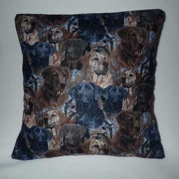 Decorative Pillow Cover, Throw Pillow Cover, Single, 16 x 16, Labrador Pillow, Black Lab, Chocolate Lab, Yellow Lab, Hunting Dogs, Show Dogs