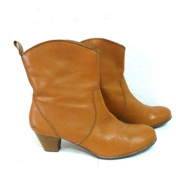 Vintage tan leather ankle boots high heel womens sz 8