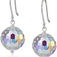 Sterling Silver and Swarovski Elements Crystal Aurora Borealis Drop Earrings