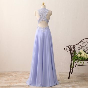 New A Line O Neck Long Prom Dresses Appliques Beaded Chiffon Formal Woman Prom Gowns