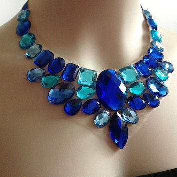 blue bib necklace - royal blue and turquoise blue statement necklace, bridal necklace, prom, wedding necklace gift or for you NEW