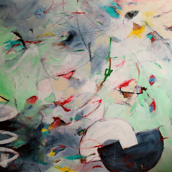 """Extra Large Abstract Painting Green Gray 48x60 Canvas Modern """"Taking My Time"""""""