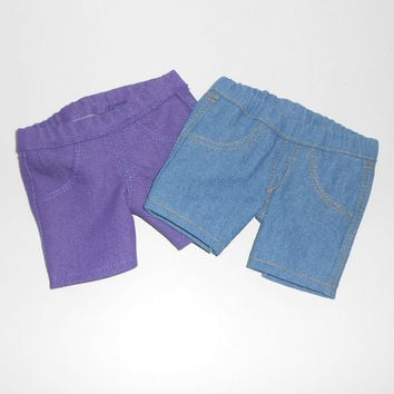 American Girl Doll Clothes 2 pair Denim Capri Jeans Purple and Blue fits 18 inch dolls