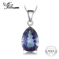 JewelryPalace 4ct Genuine Multicolor Rainbow Fire Mystic Topaz Pendant Pear Real Pure 925 sterling Silver For Women