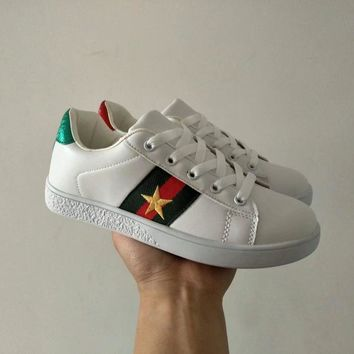 gucci unisex casual fashion multicolor embroidery five pointed star plate shoes couple small white shoes sneakers