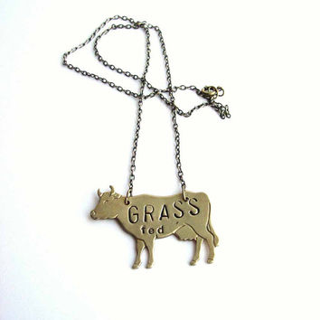 grass fed cow necklace - hand stamped animal jewelry