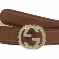 NWT GUCCI LADIES BROWN LEATHER INTERLOCKING GG LOGO BUCKLE SKINNY BELT 80/32