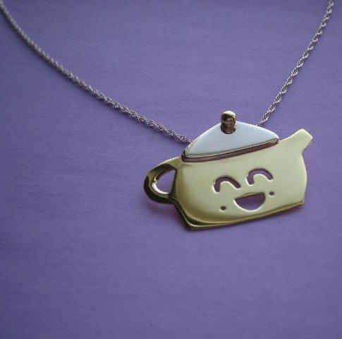 Teapington the Teapot Necklace Handmade by Metal Sugar - Adorable Blend of Sterling Silver & Brass - Whimsical & Unique Gift Ideas for the Coolest Gift Givers
