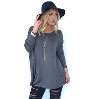 Night Is Young Jersey Top in Charcoal