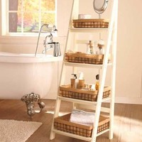 4-Tier White Ladder Shelf Bookshelf Living Room Bathroom Storage Home Decor