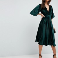 ASOS Pleated Velvet Kimono Midi Dress at asos.com