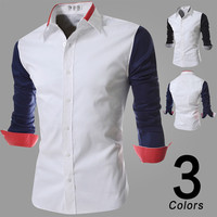 Color Contrast Sleeve Dress Shirt