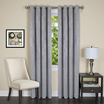 Lorraine Set of 2 Room Darkening Energy Efficient Blackout Curtain Panels (52 inch  x 84 inch ) with 8 Grommets - Silver