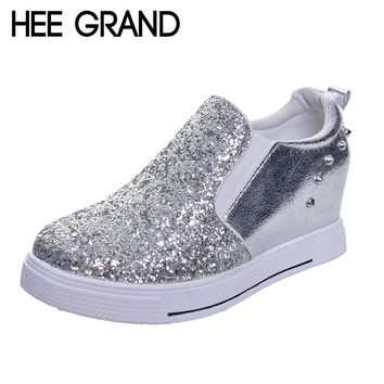 HEE GRAND Fashion Bling Women's Vulcanize Shoes Height Increasing Wedges Heel Revits Casual Shoes For Woman XWD5167