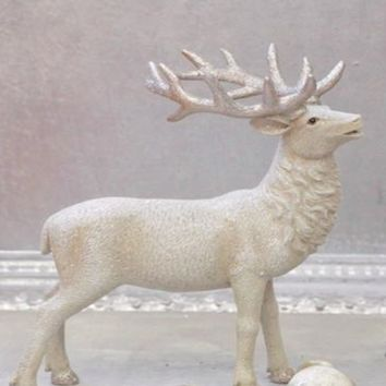French Country Christmas Home Decor Collection Cream Colored Reindeer Statue