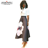 SEBOWEL Summer Vintage High Waist Women A Line Skirts Elegant Floral Ptinted Casual Skirt Fashion Color Block Maxi Skirt Black