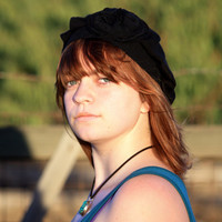 Black Upcycled Silk and Cotton Blend Sweater Hat / Tam with Shabby Flower
