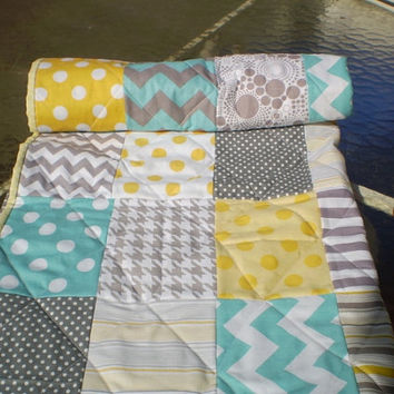 Baby quilt,teal,grey,yellow,Baby boy bedding,baby girl quilt,Patchwork Crib quilt,chevron blanket,modern,elephant,dots,toddler Where's Ellie