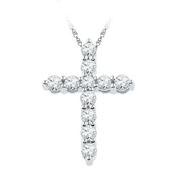 10kt White Gold Womens Round Diamond Cross Religious Pendant 1/3 Cttw