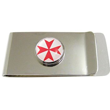 Red Maltese Cross Pendant Money Clip