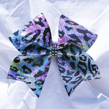 Cheer bow- rainbow Lepord print bow-Cheerleader bow- Cheerleading bow- dance bow- softball bow- cheerbow