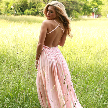 The Grand Reveal Maxi Dress in Light Peach