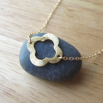 Brushed Gold Clover Necklace - Lucky charm - Simple petite everyday wear by Yameyu