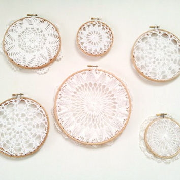 Dreamcatcher, dream catcher, collection, white dreamcatcher, doily dreamcatcher, boho decor, doily hoop art, wall hanging, 2