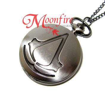 ASSASSIN'S CREED Logo Insignia Pocket Watch Necklace