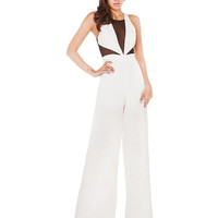 Sleeveless Cutout Mesh Accent Jumpsuit